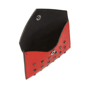 Alexander McQueen Skull Studded Leather Envelope Card Case Open $245