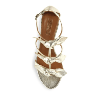 Aquazzura St. Tropez Tied Metallic Leather Sandals Top $750