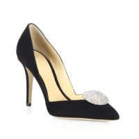 Giorgio Armani Embellished Suede D'Orsay Point-Toe Pumps $1,045