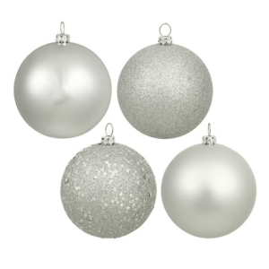 Silver Splendor Assorted Finishes Ornaments $49.52