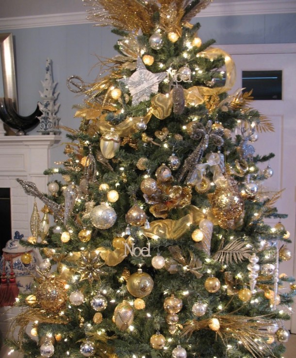 Silver, Gold Elegant Holiday Tree Ornaments