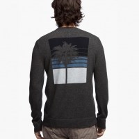 James Perse Cashmere Graphic Sweater Charcoal Back $395