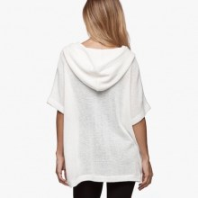 James Perse Knit Mesh Hooded Pullover White Back $250