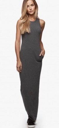 James Perse Sleevless Maxi Dress Heather Charcoal $225