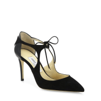 Jimmy Choo Vanessa Cutout Suede & Leather Front-Tie Pumps $750