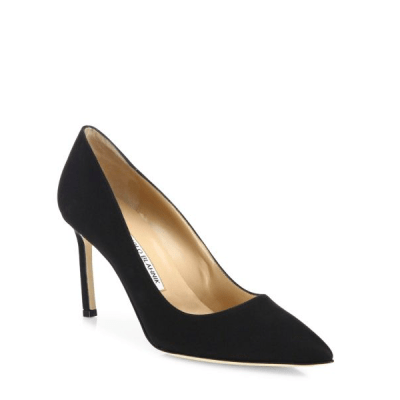 Manolo Blahnik BB 90 Crepe De Chine Point-Toe Pumps $595