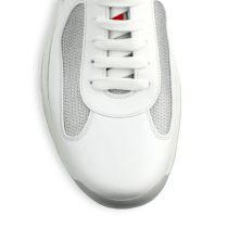 Prada Leather & Mesh White Sneakers Closeup $595