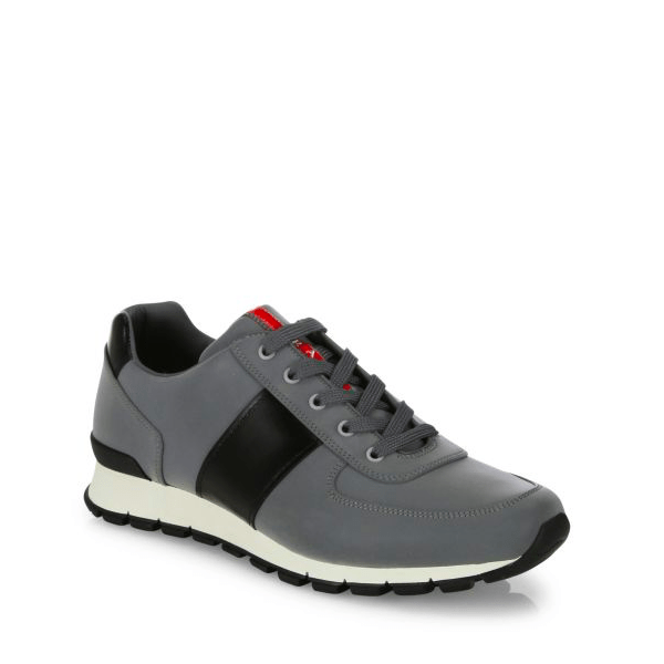 Prada Men's Fashion Sneakers Reflective Leather & Nylon Running Sneakers $650