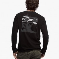 James Perse Recylced Knit Graphic Crew Black:White $145