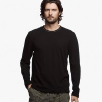 James Perse Recylced Knit Graphic Crew Black:White Front $145