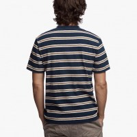 James Perse Retro Stripe Pocket Tee Thames Blue:Pollen Back $85