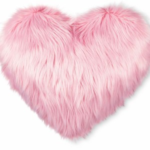Valentine's Heart Oversized Faux Fur Throw Pillow Pink $19.99