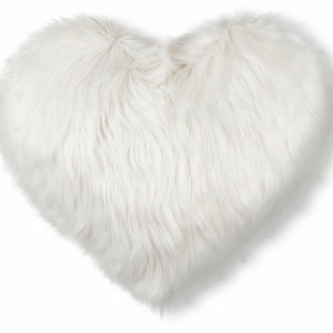 Valentine's Heart Oversized Faux Fur Throw Pillow White $19.99