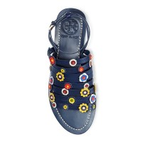 Tory Burch Marguerite Floral Strappy Sandal Navy Sea Top $275