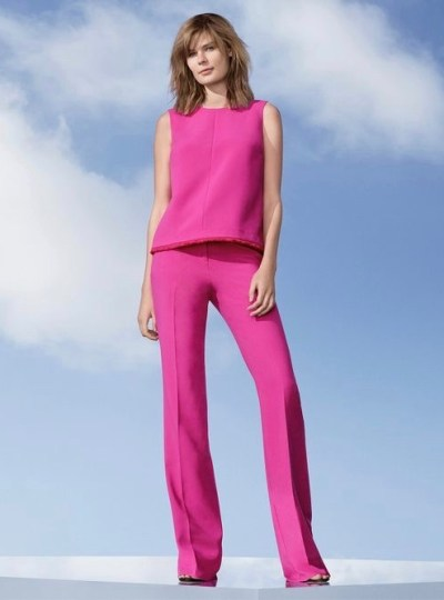 Victoria Beckham Fuchsia Twill Tank Top $26 and Flared Trouser $40