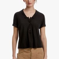 James Perse Cotton Linen Cropped Polo Carbon $145