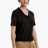 James Perse Cotton Linen Cropped Polo Carbon Side $145