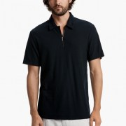 James Perse Cotton Linen Zip-Front Polo Mariner $165