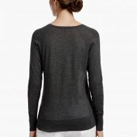 James Perse Egyptian Cotton Deep V Sweater Back Dark Heather Grey $250