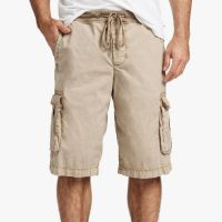 James Perse Stretch Poplin Cargo Short Sandstone Pigment $175