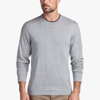 James Perse Cotton Double Neckband Sweater Heather Grey Fig $175
