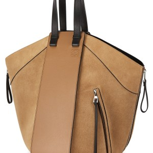 LOEWE Hammock Camel Leather and Suede Tote, $2,550