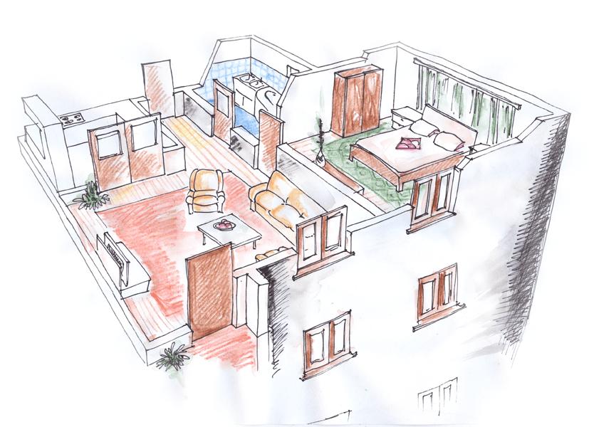 Schita unui apartament de bloc, in tus, creion si acuarela