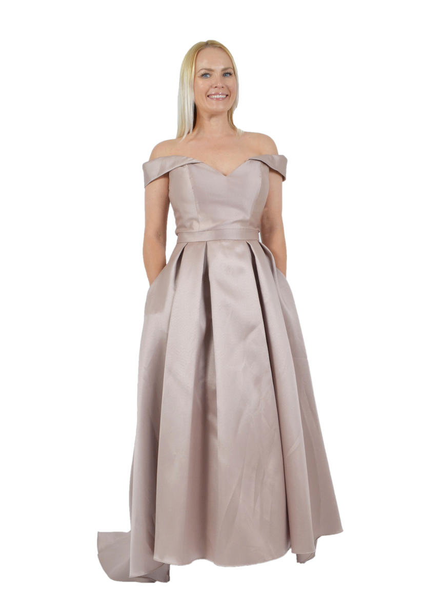 Xscape Estelle s Dressy Dresses in Farmingdale   NY Satin High Low Gown Off The Shoulder