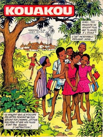 Première page de KOUAKOU, bande-dessinée ivoirienne vendue dans les écoles primaires et les collèges d'Afrique francophone
