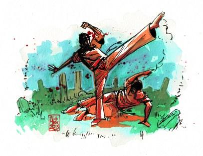 Encres : Capoeira – 407 [ #capoeira #watercolor #illustration] Encre sur papier 300gr / Ink on paper 300gr 16 x 21 cm