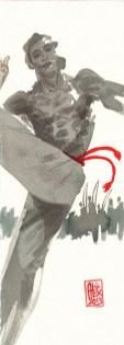 Encres : Capoeira – 409 [ #capoeira #watercolor #illustration] Encre sur papier 300gr / Ink on paper 300gr 30 x 10.5 cm