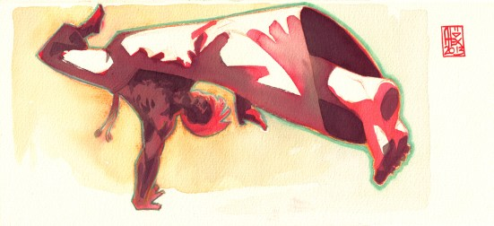 Encres : Capoeira – 419 [ #capoeira #watercolor #illustration] Encre sur papier 300gr / Ink on paper 300gr 15 x 35 cm