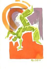Encres : Capoeira – 438 [ #capoeira #watercolor #illustration] Encre sur papier 300gr / Ink on paper 300gr 14 x 19 cm