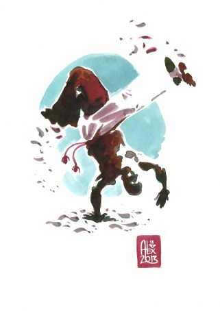 Encres : Capoeira – 489 [ #capoeira #watercolor #illustration] Encre sur papier 190gr / Ink on paper 190gr 14.8 x 21 cm / 5.8 x 8.3 in