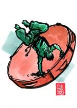 Encres : Capoeira – 492 [ #capoeira #watercolor #illustration] Encre sur papier 190gr / Ink on paper 190gr 14.8 x 21 cm / 5.8 x 8.3 in