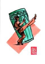 Encres : Capoeira – 493 [ #capoeira #watercolor #illustration] Encre sur papier 190gr / Ink on paper 190gr 14.8 x 21 cm / 5.8 x 8.3 in