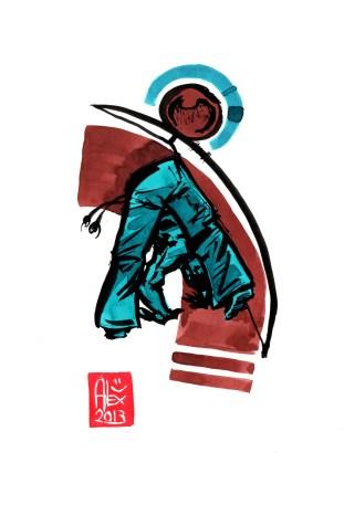 Encres : Capoeira – 495 [ #capoeira #watercolor #illustration] Encre sur papier 190gr / Ink on paper 190gr 14.8 x 21 cm / 5.8 x 8.3 in
