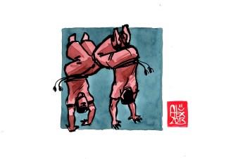 Encres : Capoeira – 512 [ #capoeira #watercolor #illustration] Encre sur papier 190gr / Ink on paper 190gr 14.8 x 21 cm / 5.8 x 8.3 in