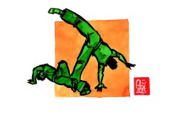 Encres : Capoeira – 517 [ #capoeira #watercolor #illustration] Encre sur papier 190gr / Ink on paper 190gr 14.8 x 21 cm / 5.8 x 8.3 in