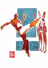 Encres : Capoeira – 563 [ #capoeira #watercolor #illustration] aquarelle sur papier 300gr / watercolor on paper 300gr 18 x 25 cm / 7.1 x 9.8 in