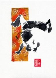 Encres : Capoeira – 570 [ #capoeira #watercolor #illustration] aquarelle sur papier 300gr / watercolor on paper 300gr 18 x 25 cm / 7.1 x 9.8 in