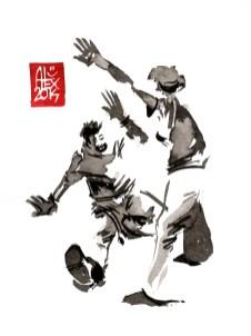 Encres : Capoeira – 635 [ #capoeira #watercolor #illustration] aquarelle sur papier 300gr / watercolor on paper 300gr 15 x 20 cm / 5.9 x 7.9 in