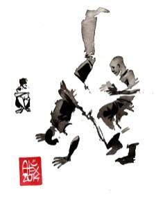 Encres : Capoeira – 637 [ #capoeira #watercolor #illustration] aquarelle sur papier 300gr / watercolor on paper 300gr 15 x 20 cm / 5.9 x 7.9 in