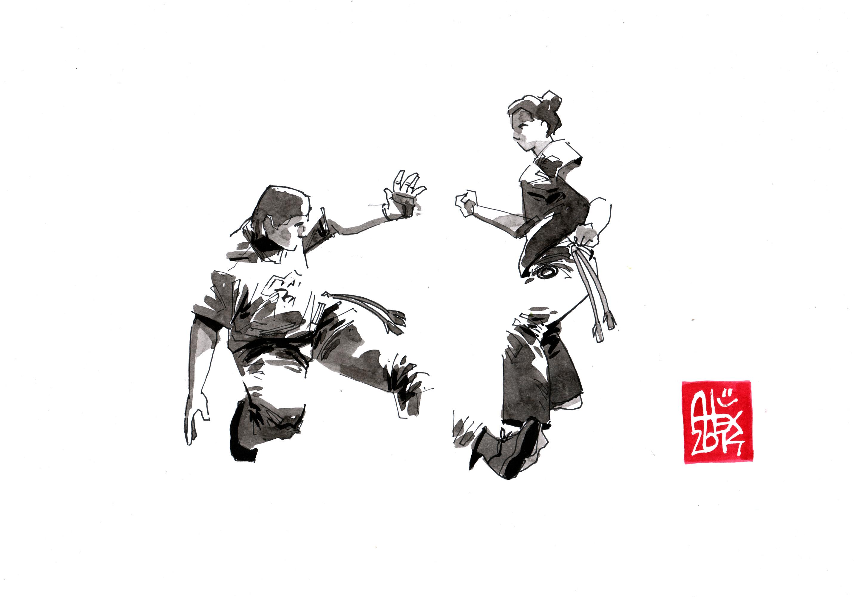 Illustration : Capoeira – 674 [ #capoeira #watercolor #illustration] aquarelle sur papier 180gr / watercolor on paper 180gr 21x 29.7 cm / 8.3 x 11.7 in