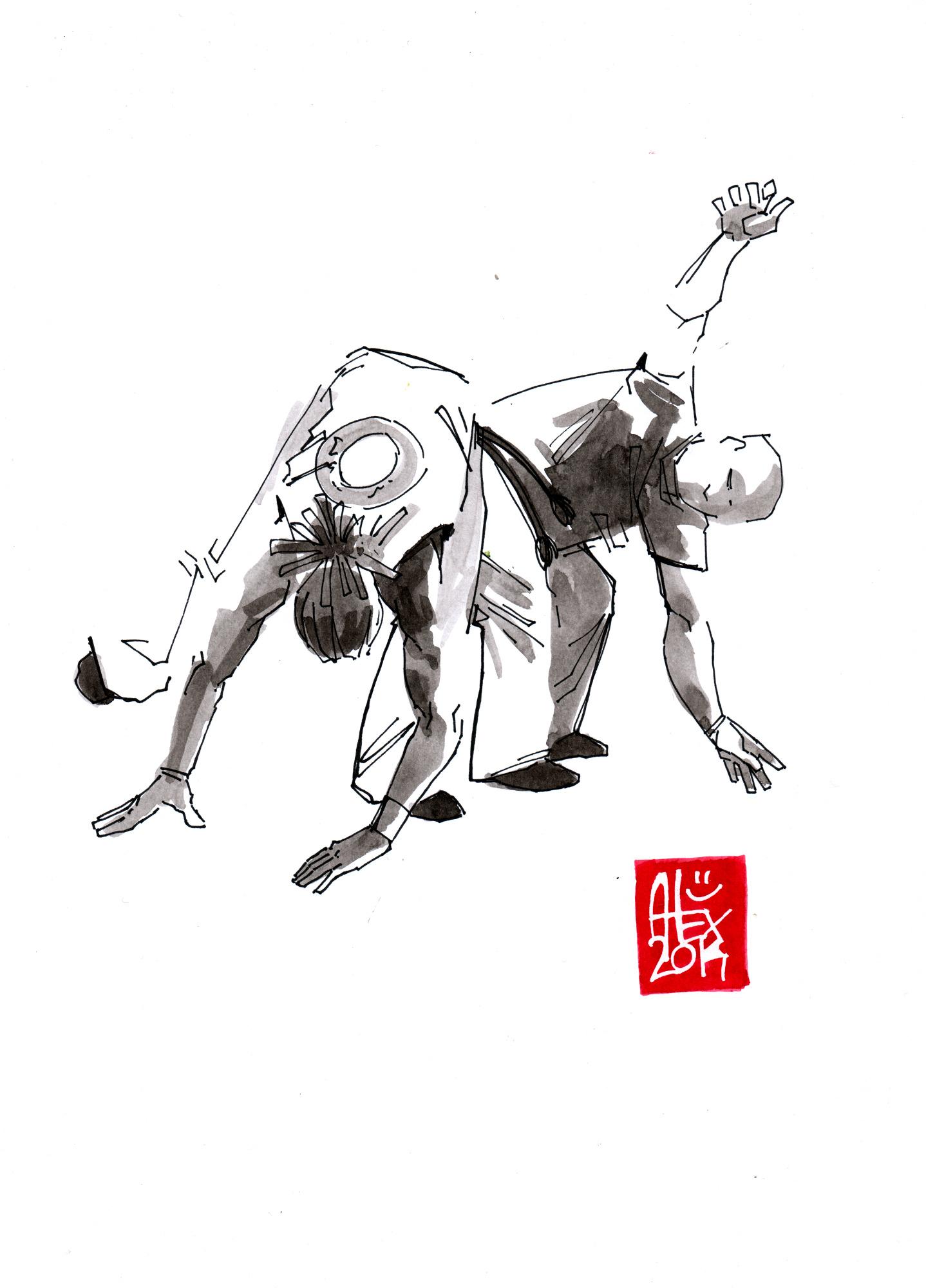 Illustration : Capoeira – 677 [ #capoeira #watercolor #illustration] aquarelle sur papier 180gr / watercolor on paper 180gr 21x 29.7 cm / 8.3 x 11.7 in