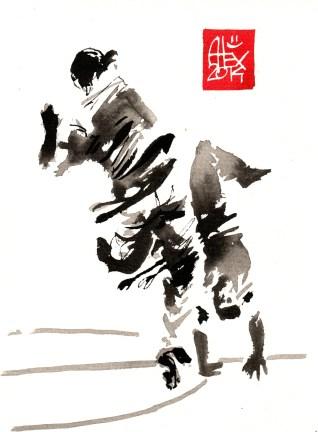 Encres : Capoeira – 646 [ #capoeira #watercolor #illustration] aquarelle sur papier 300gr / watercolor on paper 300gr 14 x 19 cm / 5.5 x 7.5 in