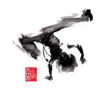 Illustration : Capoeira – 695 [ #capoeira #watercolor #illustration] aquarelle sur papier 325gr / watercolor on paper 325gr 16 x 16 cm / 6.30 x 6.30 in