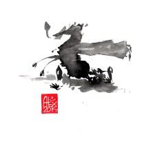 Illustration : Capoeira – 696 [ #capoeira #watercolor #illustration] aquarelle sur papier 325gr / watercolor on paper 325gr 16 x 16 cm / 6.30 x 6.30 in