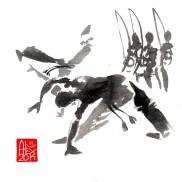 Illustration : Capoeira – 703 [ #capoeira #watercolor #illustration] aquarelle sur papier 325gr / watercolor on paper 325gr 16 x 16 cm / 6.30 x 6.30 in