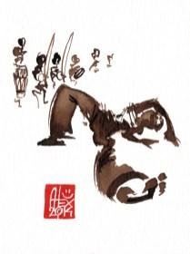 Illustration : Capoeira – 714 [ #capoeira #watercolor #illustration] aquarelle sur papier 325gr / watercolor on paper 325gr 12 x 16 cm / 4.7 x 6.30 in
